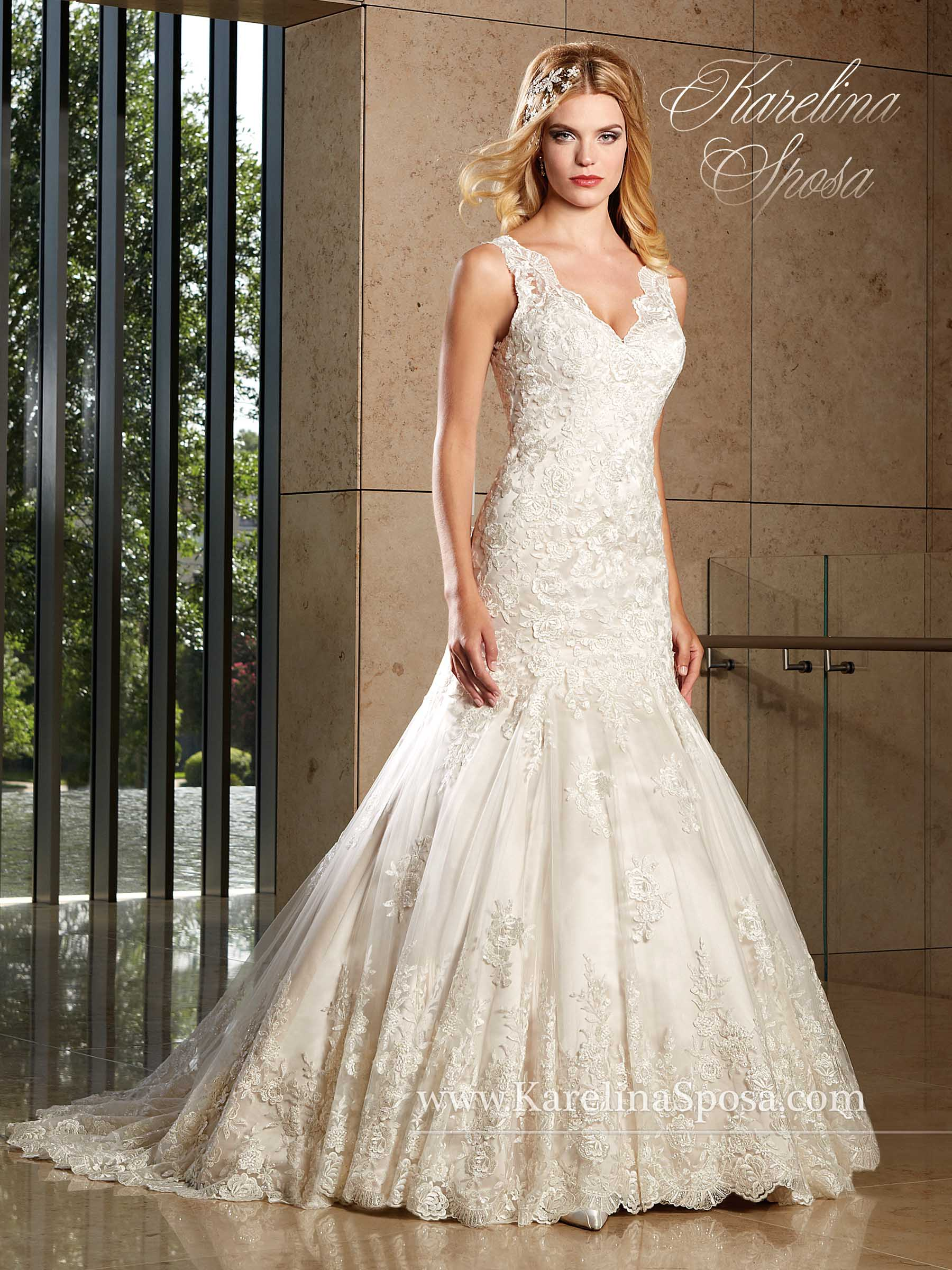Trumpet Style Wedding Dresses Lace : Home wedding dresses lace v neck trumpet style bridal gown c