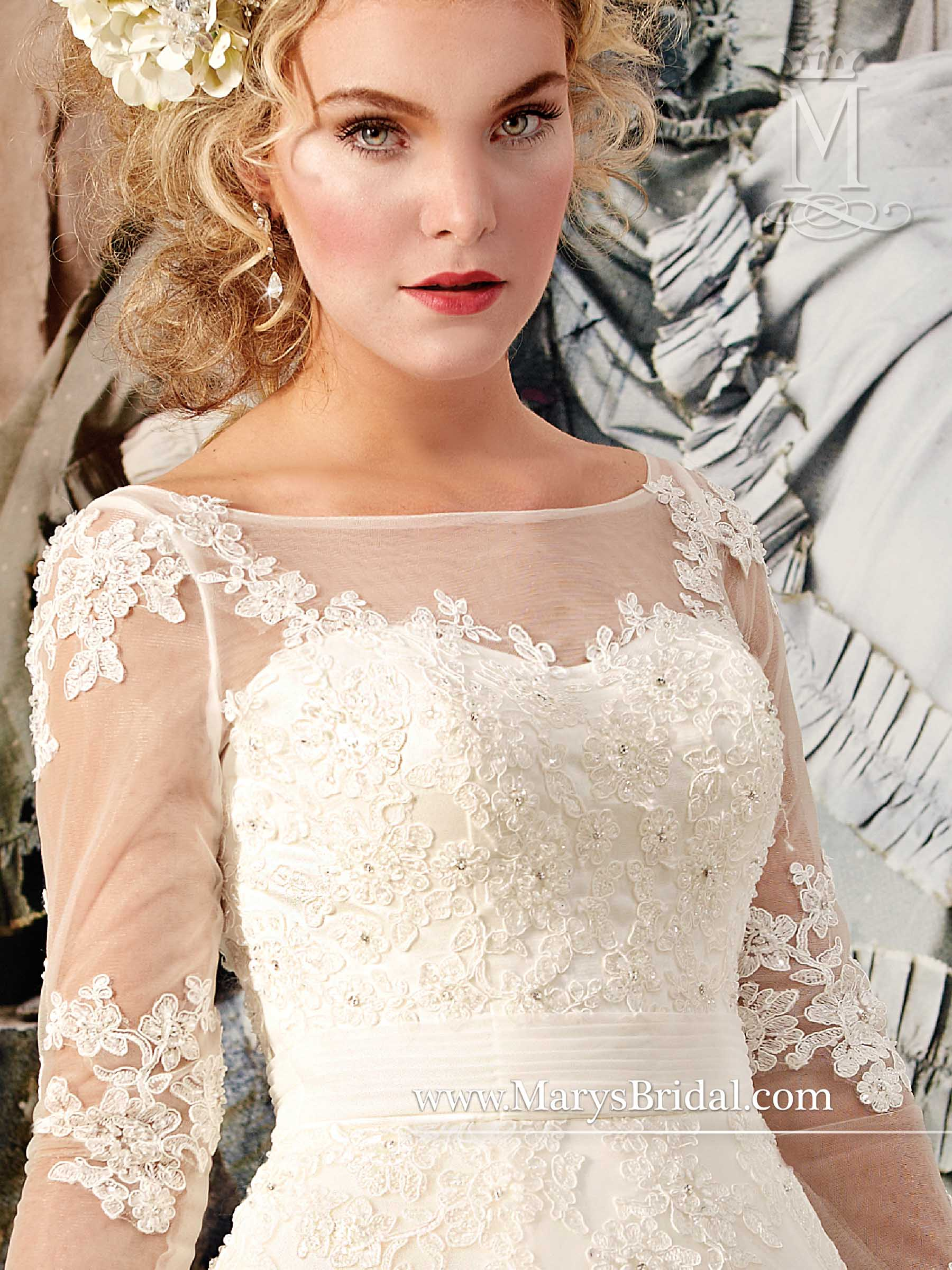 Tulle Bridal Ball Gown with Illusion Bateau Neckline 6312 - Genesis ...